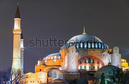 Isztambul éjszaka naplemente építészet ázsiai történelem Stock fotó © elxeneize