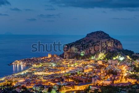 Sicilia noche norte costa agua casa Foto stock © elxeneize