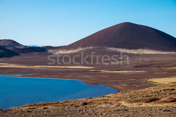 Vulkáni tájkép Izland félsziget égbolt természet Stock fotó © elxeneize