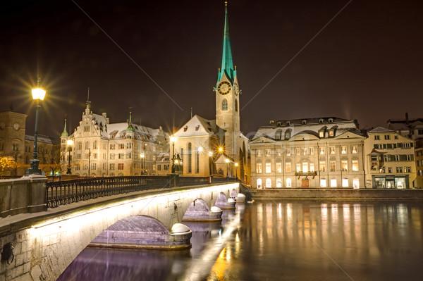 Zürih bankalar nehir iş Bina saat Stok fotoğraf © elxeneize