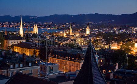 Zürih gece görmek güzel Stok fotoğraf © elxeneize