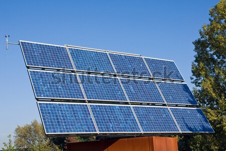 太陽エネルギー パネル 木 ビジネス 空 草 ストックフォト © elxeneize