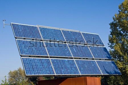 Zonne-energie paneel bomen business hemel gras Stockfoto © elxeneize
