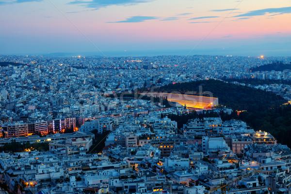 Athene oude stadion dawn gebouw Stockfoto © elxeneize