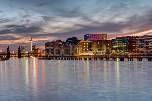 Naplemente Berlin folyó híres televízió torony Stock fotó © elxeneize