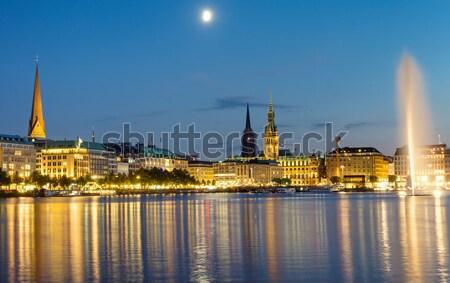 Downtown Hamburg at night Stock photo © elxeneize