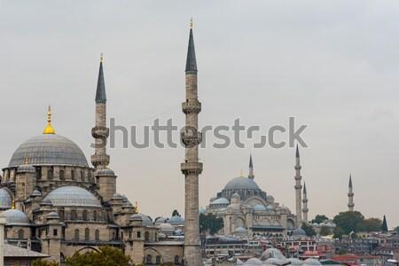 Stock fotó: új · mecset · Isztambul · felhős · nap · épület