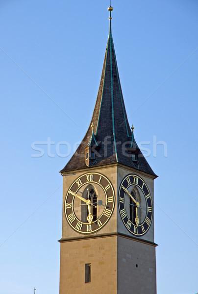 Kule Zürih kilise son güneş ışınları gün Stok fotoğraf © elxeneize