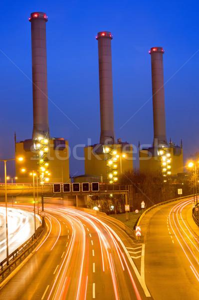 Autópálya elektromos erőmű Berlin fény forgalom utca Stock fotó © elxeneize