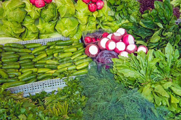 Herbage and salad at a market Stock photo © elxeneize