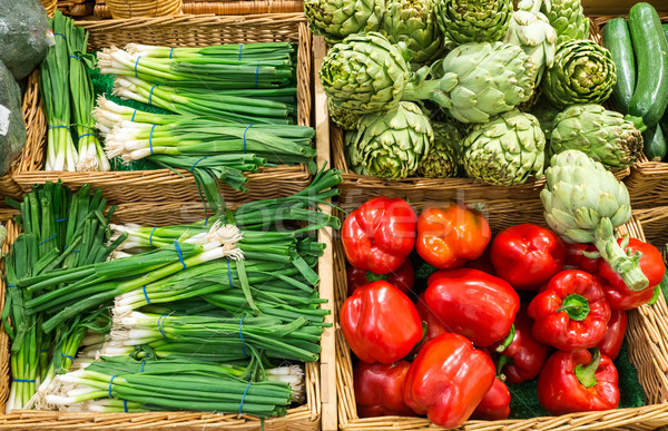 Leek, peppers and artichokes Stock photo © elxeneize