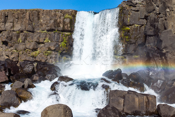 The beautiful Oxarafoss waterfall Stock photo © elxeneize