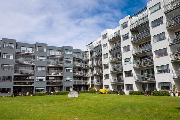 Lakásügy összetett Reykjavík modern Izland égbolt Stock fotó © elxeneize