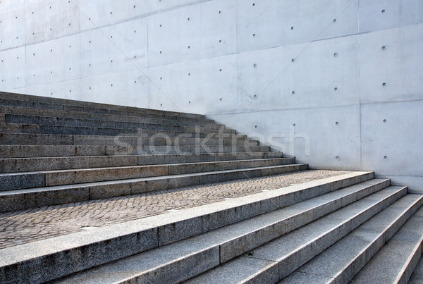 Grey stairs in front of a wall Stock photo © elxeneize