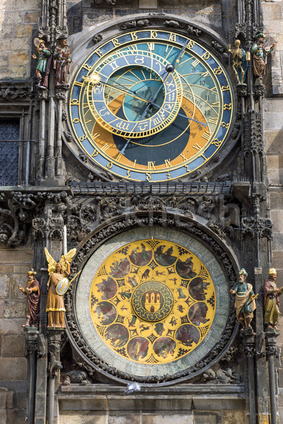 Csillagászati óra Prága részlet híres építészet Stock fotó © elxeneize