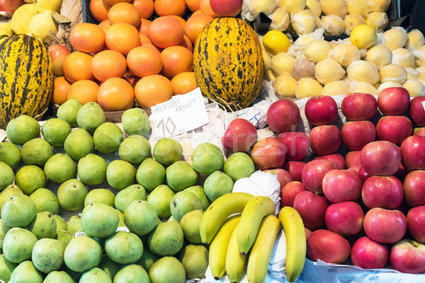 Apples, pears and melons for sale Stock photo © elxeneize