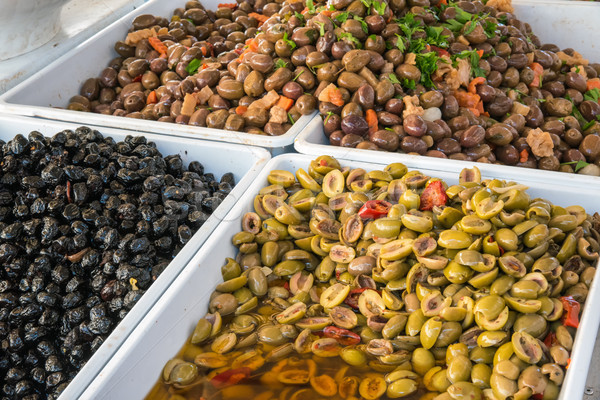 Zeytin satış pazar gıda yeşil Stok fotoğraf © elxeneize