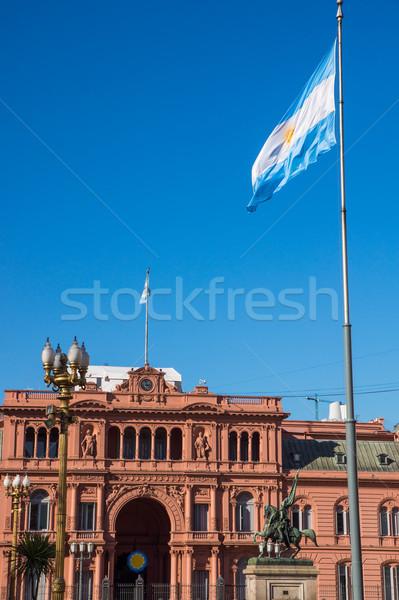 Argentín zászló Buenos Aires ház épület város Stock fotó © elxeneize
