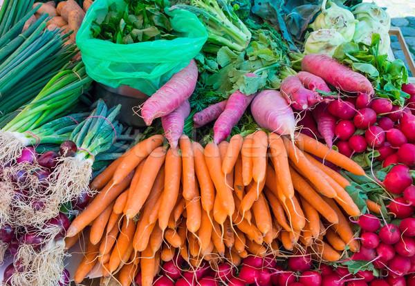 Stock photo: Carrots, radish and herbage