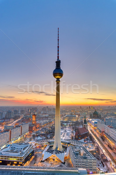 日没 中心 ベルリン 有名な テレビ 塔 ストックフォト © elxeneize