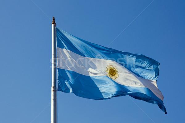 Stock fotó: Argentín · zászló · kék · ég · utazás · fehér · vidék