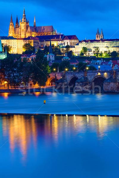 Castle and Charles Bridge in Prague Stock photo © elxeneize