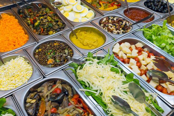 Salade buffet detail rijke keuze voedsel Stockfoto © elxeneize