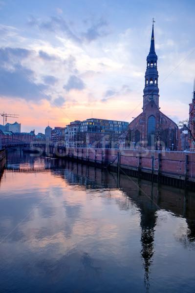 Церкви Гамбург закат один здании Сток-фото © elxeneize