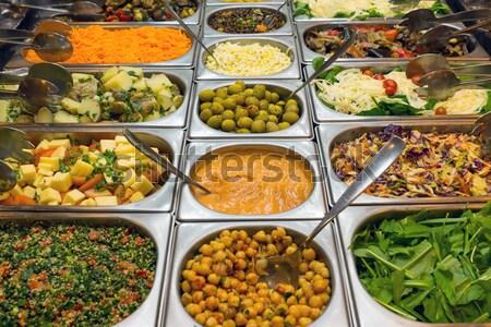 Mooie salade buffet restaurant voedsel gezondheid Stockfoto © elxeneize