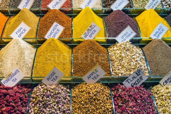 Színes fűszer fűszer piac Isztambul vásárlás Stock fotó © elxeneize