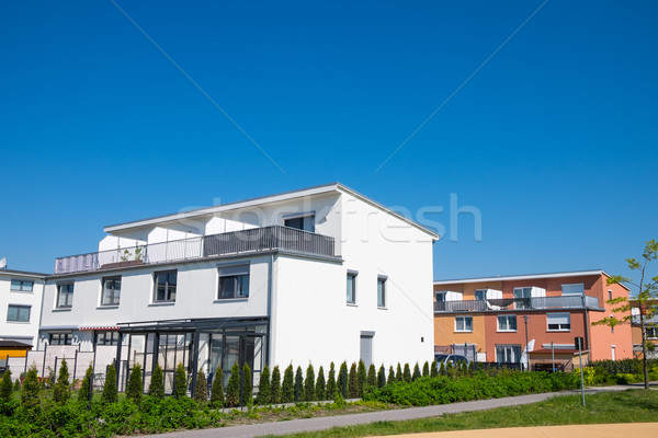 Modern family houses seen in Berlin Stock photo © elxeneize
