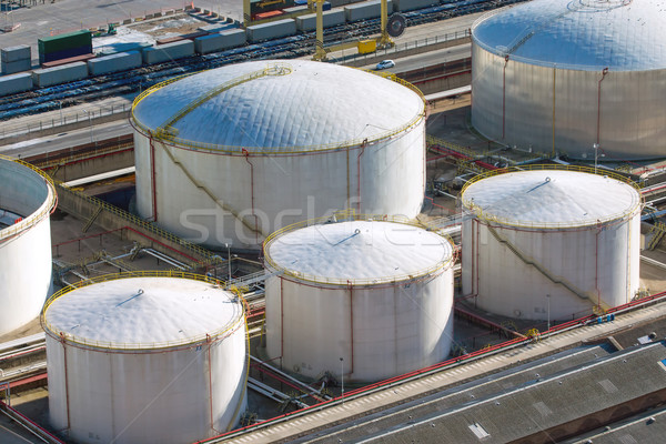 White gas storage tanks Stock photo © elxeneize