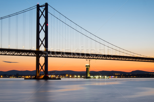 道路 橋 スコットランド 日没 空 海 ストックフォト © elxeneize