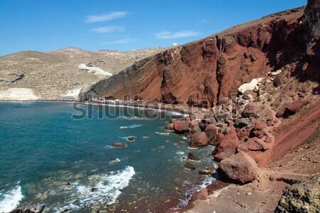 Red beach on Santorini island Stock photo © elxeneize