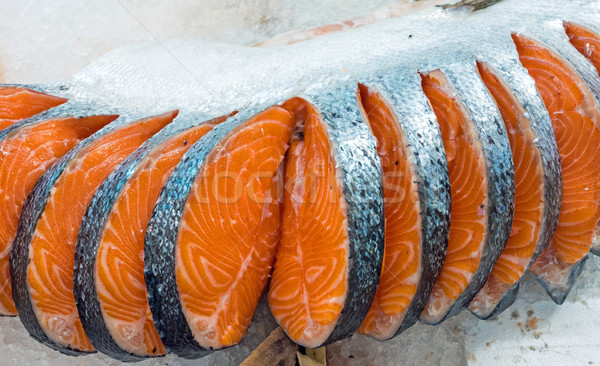 Fresh filet of salmon Stock photo © elxeneize