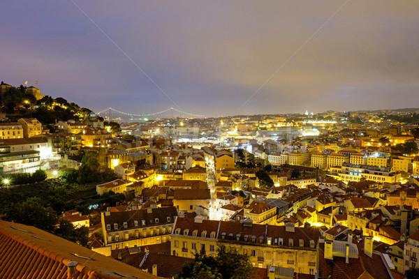 Лиссабон ночь мнение замок моста город Сток-фото © elxeneize