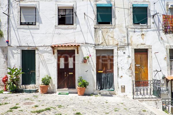 четыре вход дверей Лиссабон другой старые Сток-фото © elxeneize
