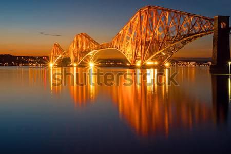 The red Forth Railbridge at night Stock photo © elxeneize