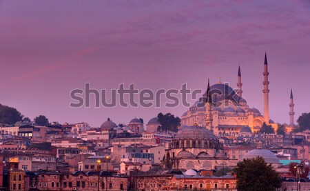 The Suleymaniye Mosque at dusk Stock photo © elxeneize