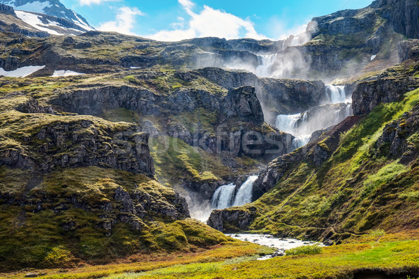Stockfoto: IJsland · waterval · hemel · water · wolken · sneeuw