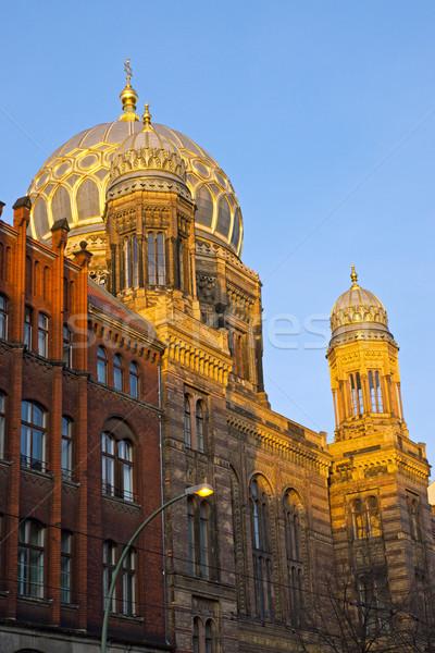 Mooie nieuwe synagoge Berlijn Stockfoto © elxeneize