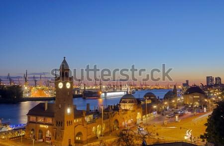 Hamburg harbor after sunset Stock photo © elxeneize