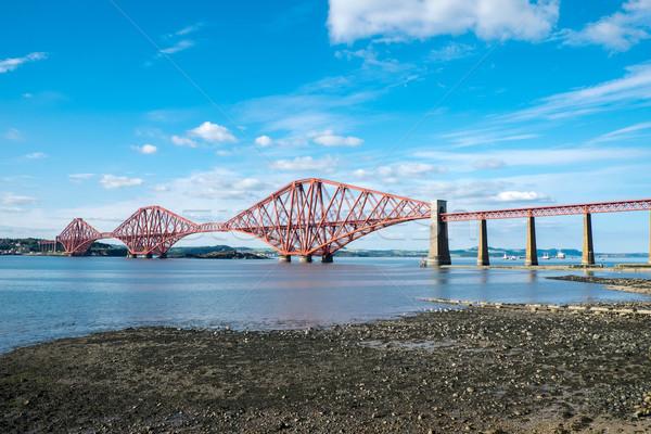 Spoorweg brug Schotland beroemd Edinburgh hemel Stockfoto © elxeneize