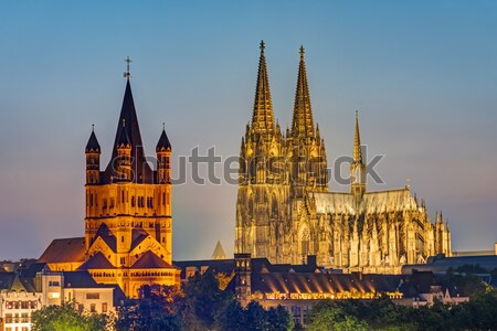 Saint Vitus cathedral at night Stock photo © elxeneize
