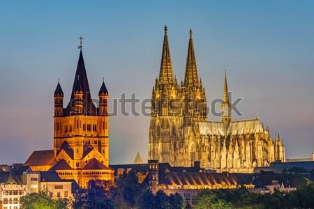 Saint Vitus cathedral at night Stock photo © elxeneize