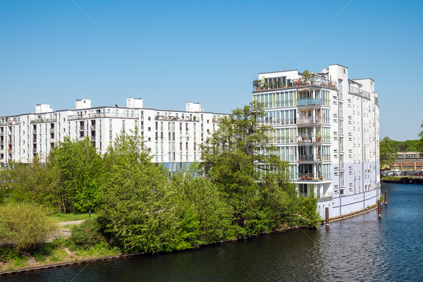 Housing complex at the River Spree Stock photo © elxeneize