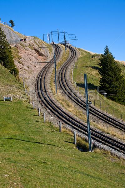 Railroad tracks in the alps Stock photo © elxeneize