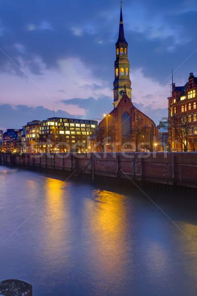 Church at dawn in Hamburg Stock photo © elxeneize