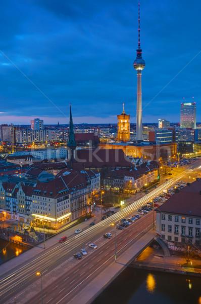 Berlin alexanderplatz gece ünlü televizyon kule Stok fotoğraf © elxeneize