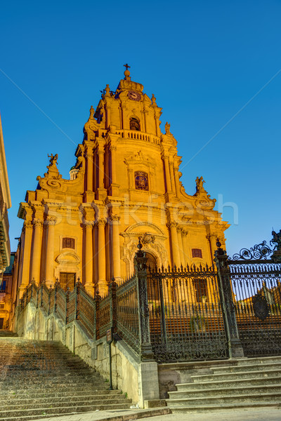 The cathedral in Ragusa at night Stock photo © elxeneize